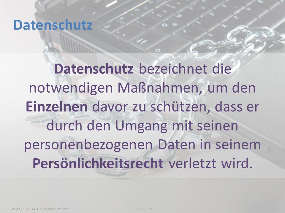 Datenschutz Datenschutz bezeichnet die notwendigen Maßnahmen, um den Einzelnen davor zu schützen, dass er durch den Umgang mit seinen personenbezogene