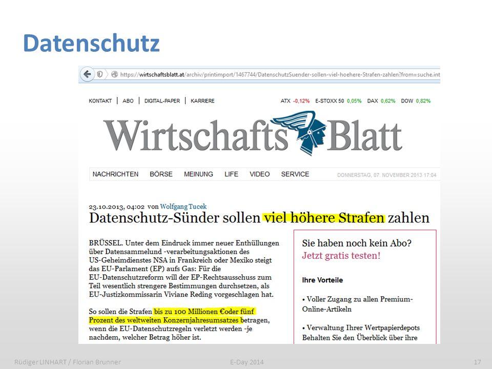 Datenschutz Rüdiger LINHART / Florian Brunner17E-Day 2014
