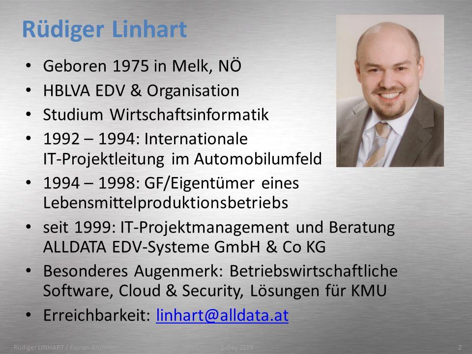 Rüdiger Linhart Geboren 1975 in Melk, NÖ HBLVA EDV & Organisation Studium Wirtschaftsinformatik 1992 – 1994: Internationale IT-Projektleitung im Autom