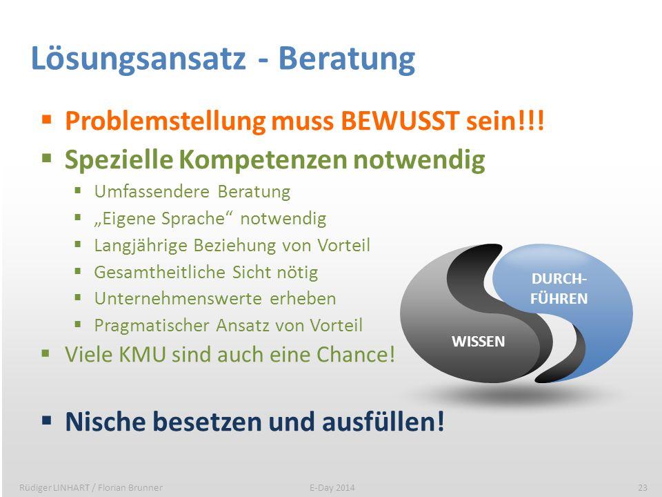 Lösungsansatz - Beratung Problemstellung muss BEWUSST sein!!! Spezielle Kompetenzen notwendig Umfassendere Beratung Eigene Sprache notwendig Langjähri