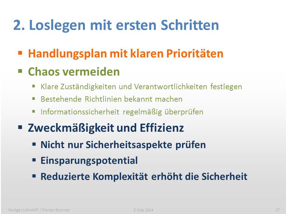 2. Loslegen mit ersten Schritten Handlungsplan mit klaren Prioritäten Chaos vermeiden Klare Zuständigkeiten und Verantwortlichkeiten festlegen Bestehe