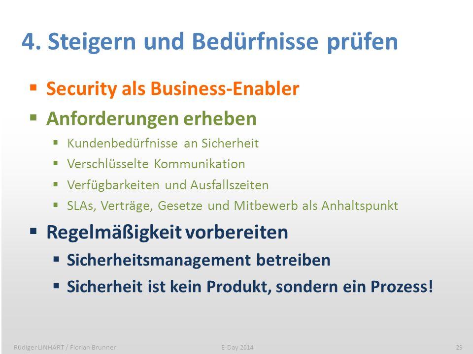 4. Steigern und Bedürfnisse prüfen Security als Business-Enabler Anforderungen erheben Kundenbedürfnisse an Sicherheit Verschlüsselte Kommunikation Ve
