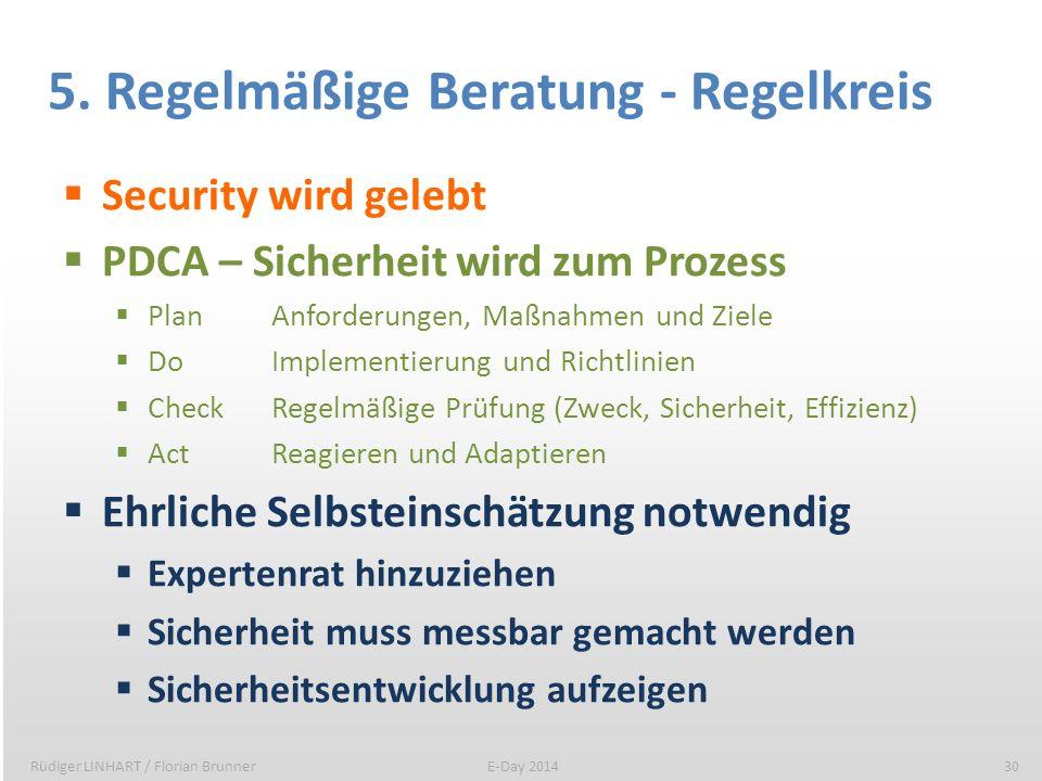 5. Regelmäßige Beratung - Regelkreis Security wird gelebt PDCA – Sicherheit wird zum Prozess PlanAnforderungen, Maßnahmen und Ziele DoImplementierung