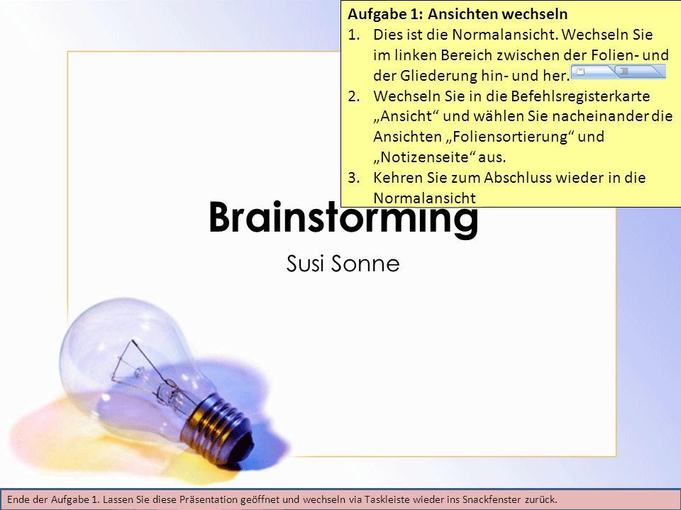 Tagesordnung Übersicht Ziele des Brainstormings Regeln Durchführung des Brainstormings Zusammenfassung Nächste Schritte Ende der Aufgabe 2.
