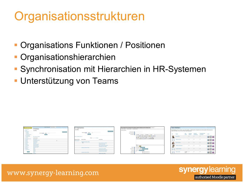 Organisationsstrukturen Organisations Funktionen / Positionen Organisationshierarchien Synchronisation mit Hierarchien in HR-Systemen Unterstützung vo