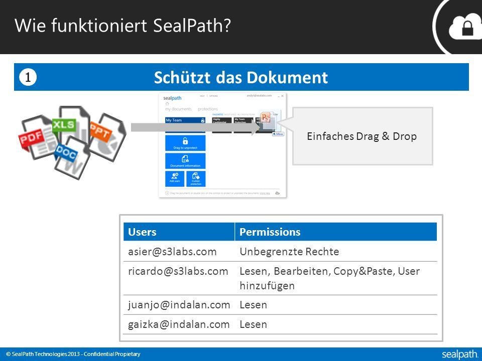 © SealPath Technologies 2013 - Confidential Propietary Wie funktioniert SealPath? Schützt das Dokument Einfaches Drag & Drop UsersPermissions asier@s3
