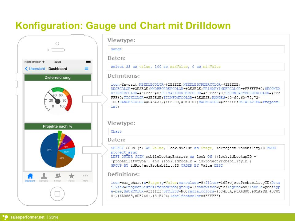 2014 salesperformer.net | Konfiguration: Gauge und Chart mit Drilldown select 33 as value, 100 as maxValue, 0 as minValue icon=favorit;NEEDLECOLOR=#2E