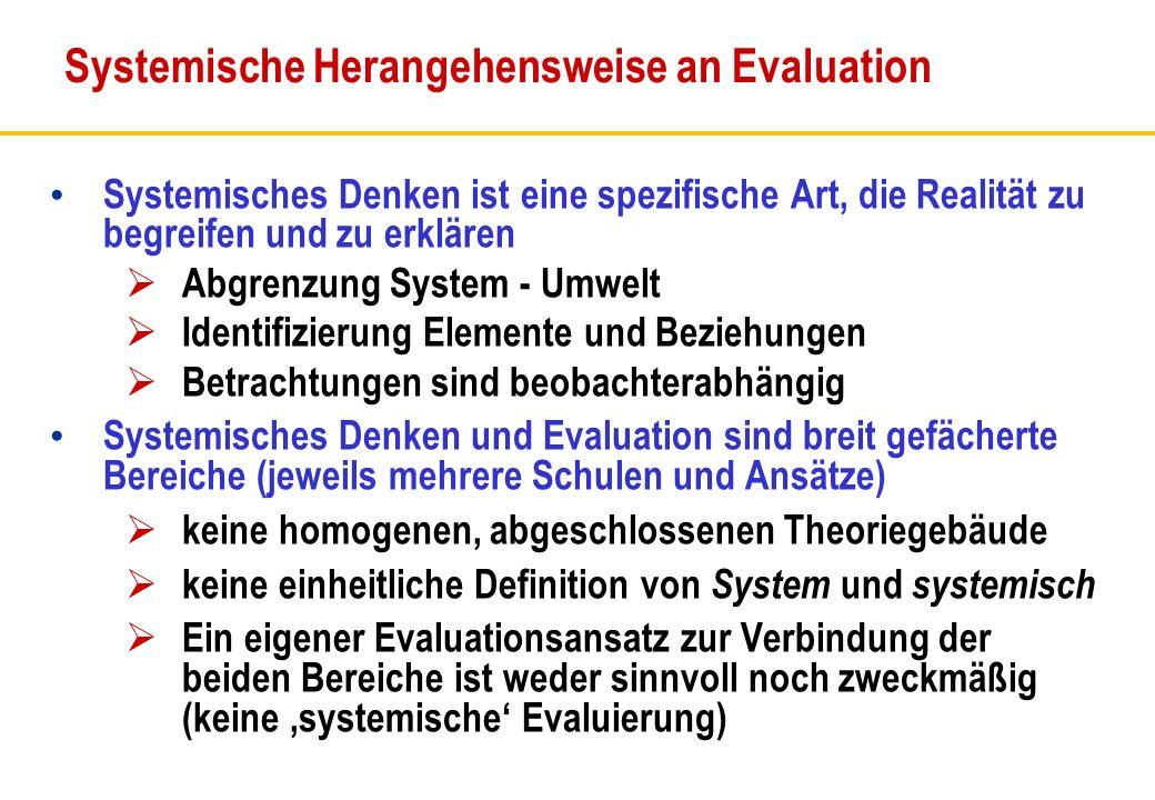 Systemisches Denken ist eine spezifische Art, die Realität zu begreifen und zu erklären Abgrenzung System - Umwelt Identifizierung Elemente und Bezieh