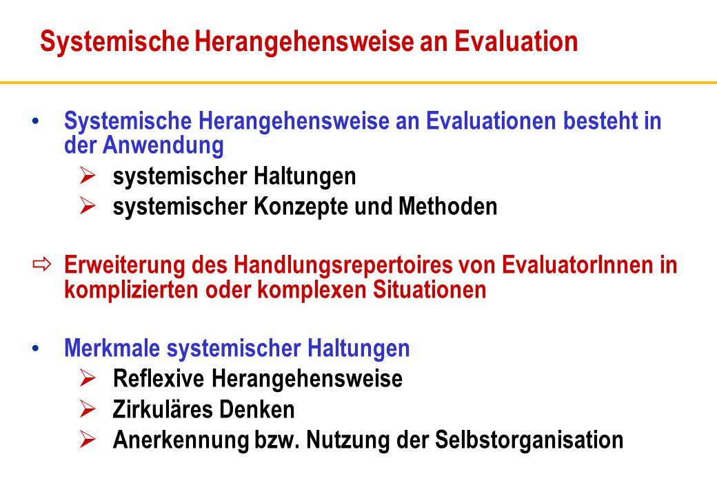Systemische Herangehensweise an Evaluationen besteht in der Anwendung systemischer Haltungen systemischer Konzepte und Methoden Erweiterung des Handlu