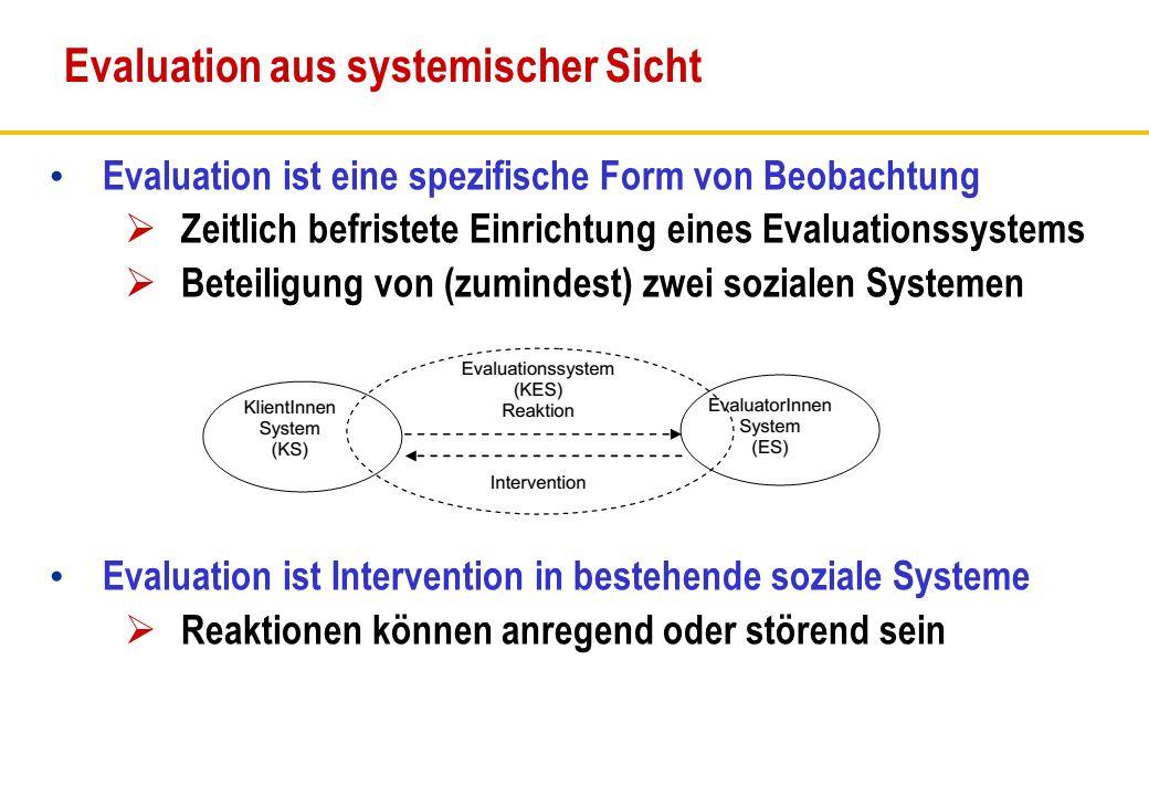 Evaluation ist eine spezifische Form von Beobachtung Zeitlich befristete Einrichtung eines Evaluationssystems Beteiligung von (zumindest) zwei soziale