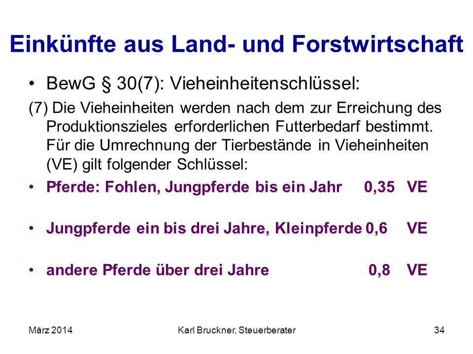 Einkünfte aus Land- und Forstwirtschaft BewG § 30(7): Vieheinheitenschlüssel: (7) Die Vieheinheiten werden nach dem zur Erreichung des Produktionsziel