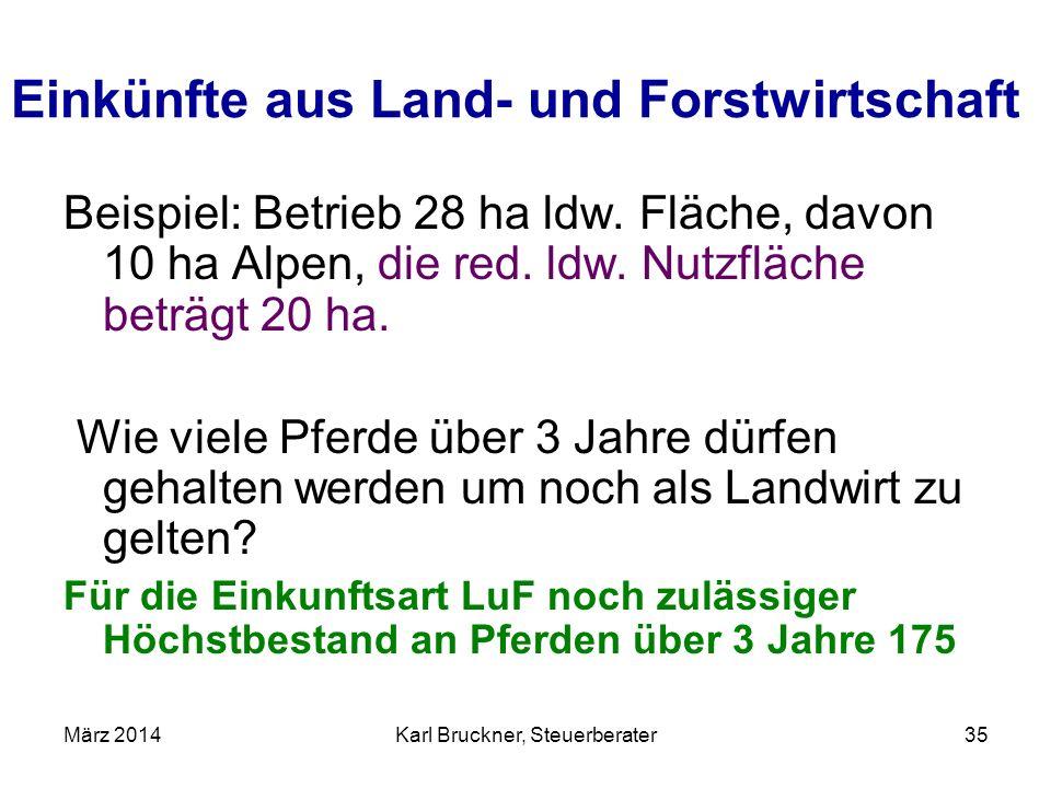 Einkünfte aus Land- und Forstwirtschaft Beispiel: Betrieb 28 ha ldw. Fläche, davon 10 ha Alpen, die red. ldw. Nutzfläche beträgt 20 ha. Wie viele Pfer