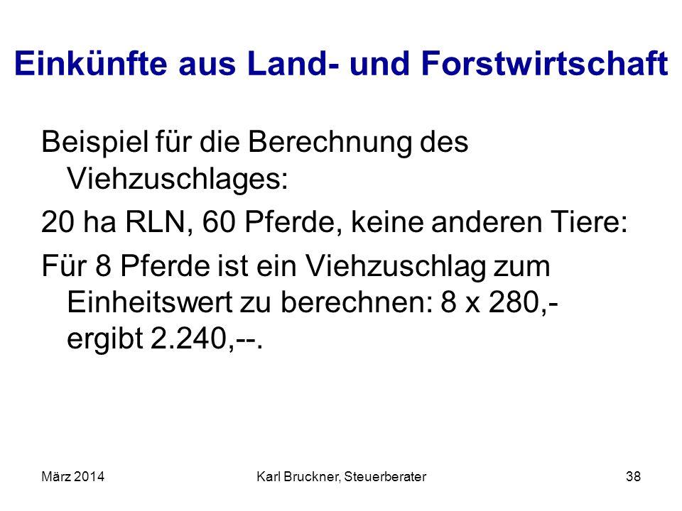 Einkünfte aus Land- und Forstwirtschaft Beispiel für die Berechnung des Viehzuschlages: 20 ha RLN, 60 Pferde, keine anderen Tiere: Für 8 Pferde ist ei