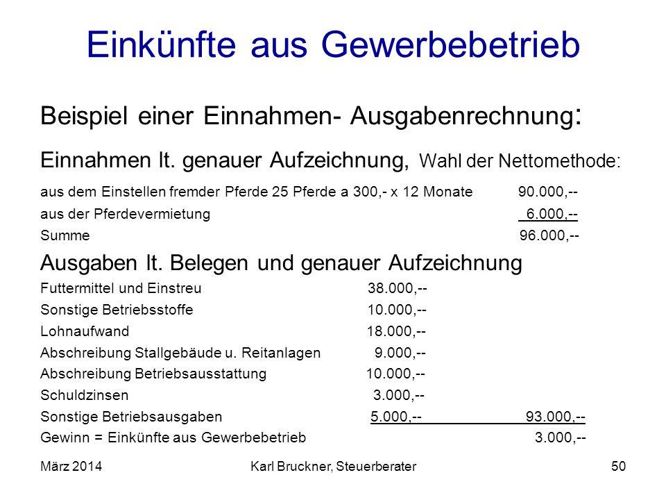 Einkünfte aus Gewerbebetrieb Beispiel einer Einnahmen- Ausgabenrechnung : Einnahmen lt. genauer Aufzeichnung, Wahl der Nettomethode: aus dem Einstelle
