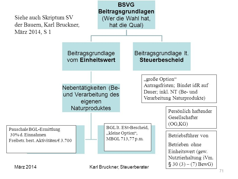 BSVG Beitragsgrundlagen (Wer die Wahl hat, hat die Qual) Beitragsgrundlage vom Einheitswert Nebentätigkeiten (Be- und Verarbeitung des eigenen Naturpr