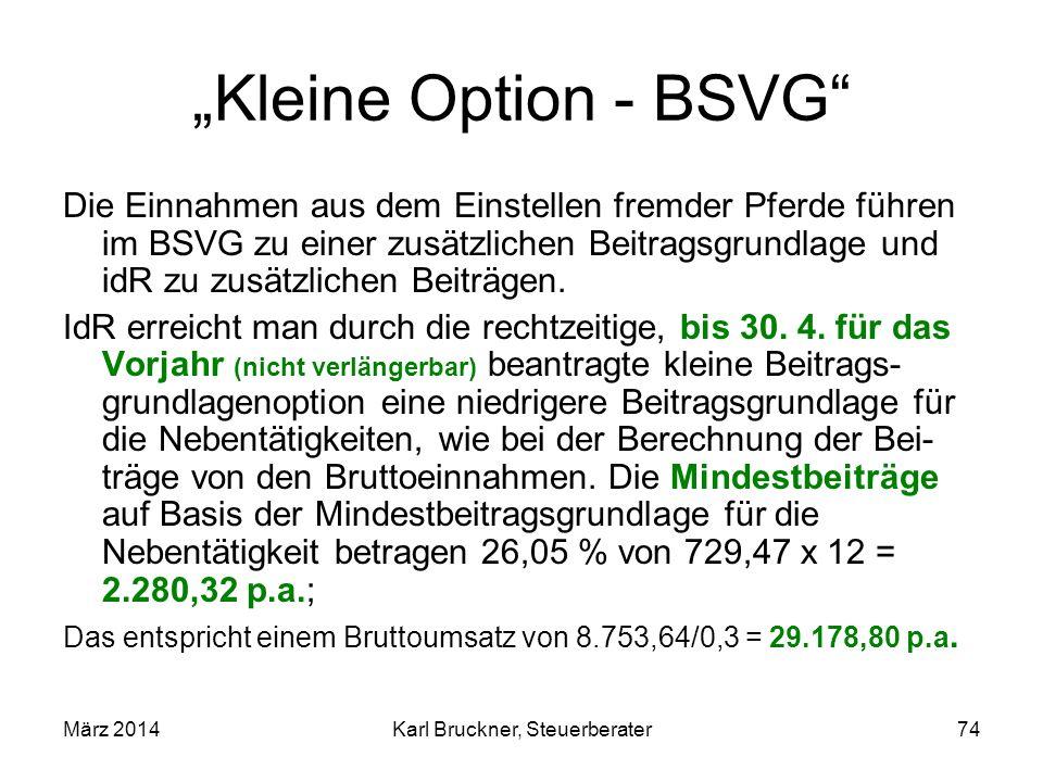 Kleine Option - BSVG Die Einnahmen aus dem Einstellen fremder Pferde führen im BSVG zu einer zusätzlichen Beitragsgrundlage und idR zu zusätzlichen Be