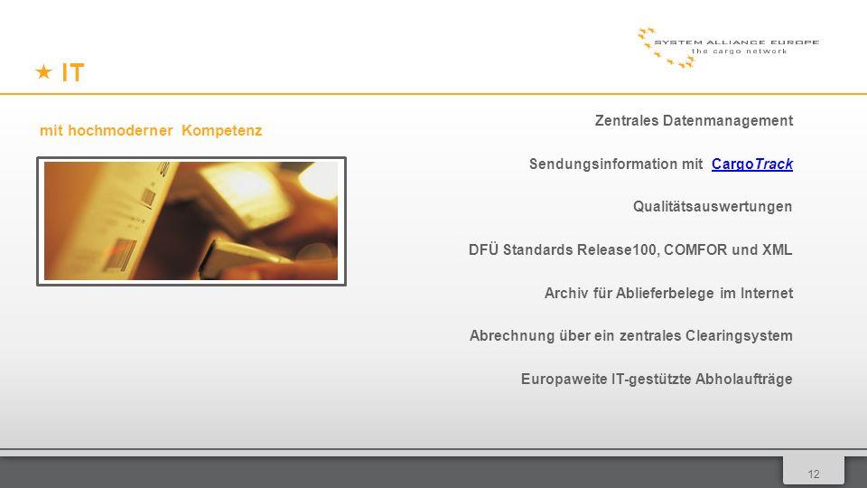 0112 IT Zentrales Datenmanagement Sendungsinformation mit CargoTrackCargoTrack Qualitätsauswertungen DFÜ Standards Release100, COMFOR und XML Archiv für Ablieferbelege im Internet Abrechnung über ein zentrales Clearingsystem Europaweite IT-gestützte Abholaufträge mit hochmoderner Kompetenz