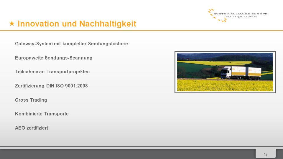 0113 Innovation und Nachhaltigkeit Gateway-System mit kompletter Sendungshistorie Europaweite Sendungs-Scannung Teilnahme an Transportprojekten Zertifizierung DIN ISO 9001:2008 Cross Trading Kombinierte Transporte AEO zertifiziert