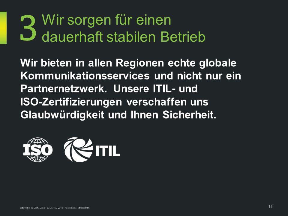 Copyright © Unify GmbH & Co. KG 2013. Alle Rechte vorbehalten. 10 Wir bieten in allen Regionen echte globale Kommunikationsservices und nicht nur ein