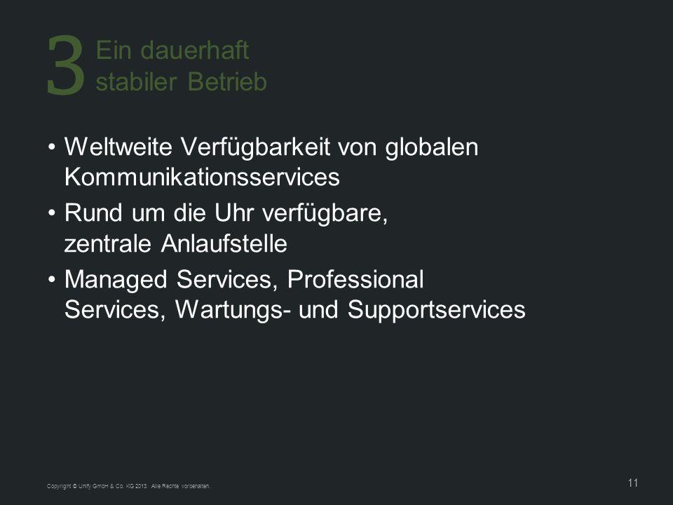 11 Copyright © Unify GmbH & Co. KG 2013. Alle Rechte vorbehalten. Weltweite Verfügbarkeit von globalen Kommunikationsservices Rund um die Uhr verfügba