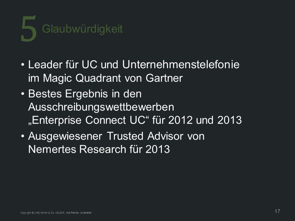 17 Leader für UC und Unternehmenstelefonie im Magic Quadrant von Gartner Bestes Ergebnis in den Ausschreibungswettbewerben Enterprise Connect UC für 2