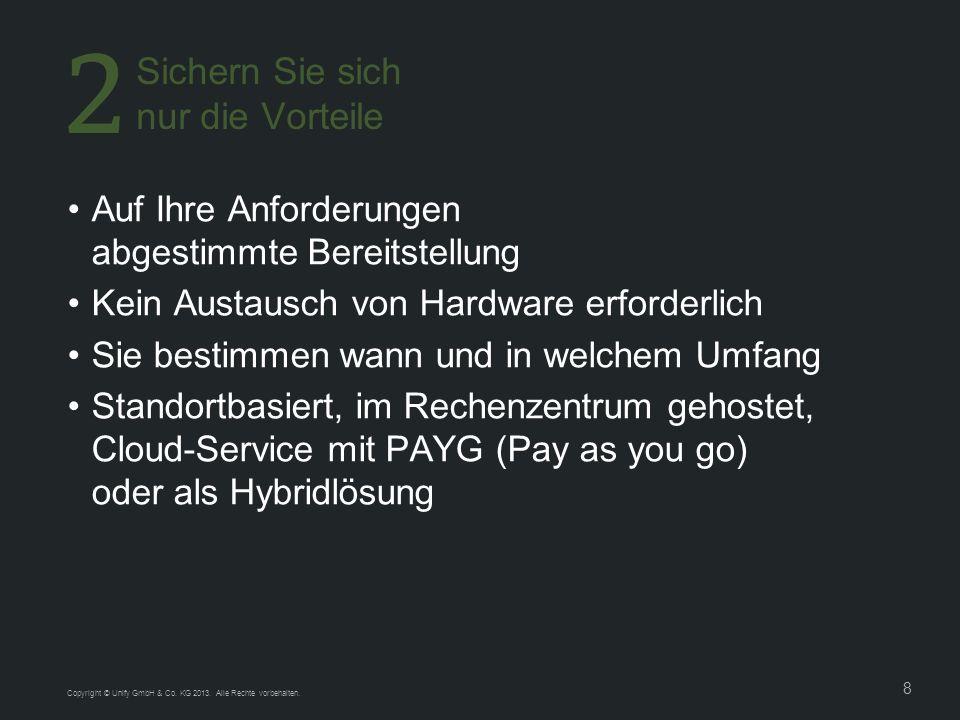 8 Copyright © Unify GmbH & Co. KG 2013. Alle Rechte vorbehalten. Auf Ihre Anforderungen abgestimmte Bereitstellung Kein Austausch von Hardware erforde