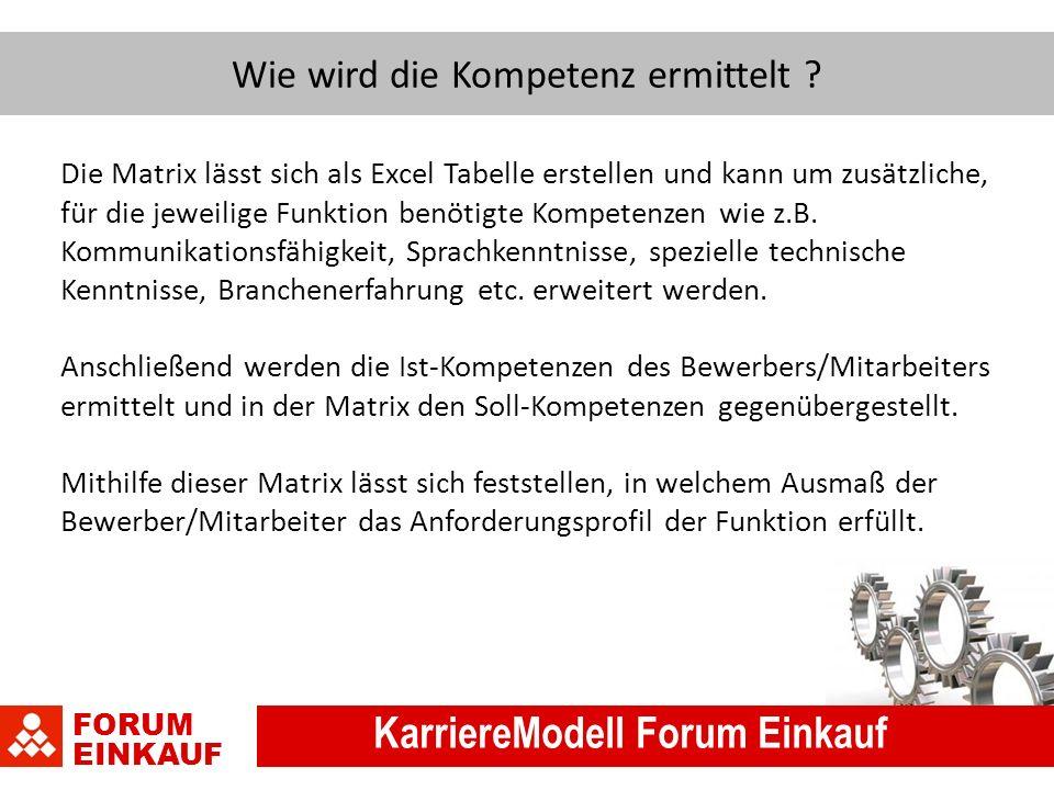 FORUM EINKAUF KarriereModell Forum Einkauf Wie wird die Kompetenz ermittelt .