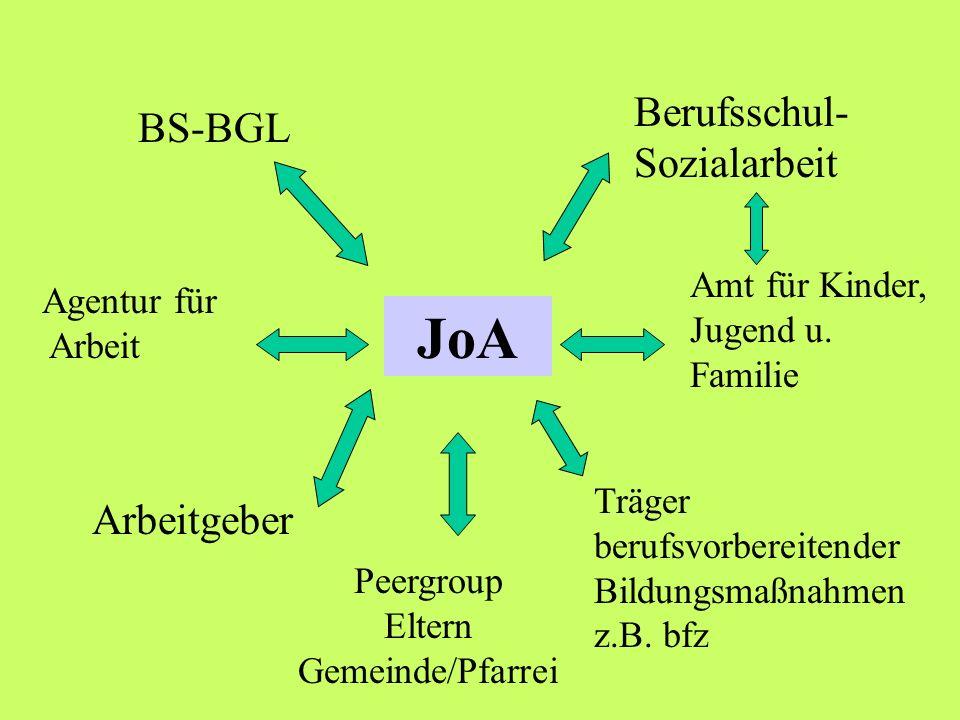 JoA BS-BGL Berufsschul- Sozialarbeit Agentur für Arbeit Träger berufsvorbereitender Bildungsmaßnahmen z.B. bfz Arbeitgeber Amt für Kinder, Jugend u. F