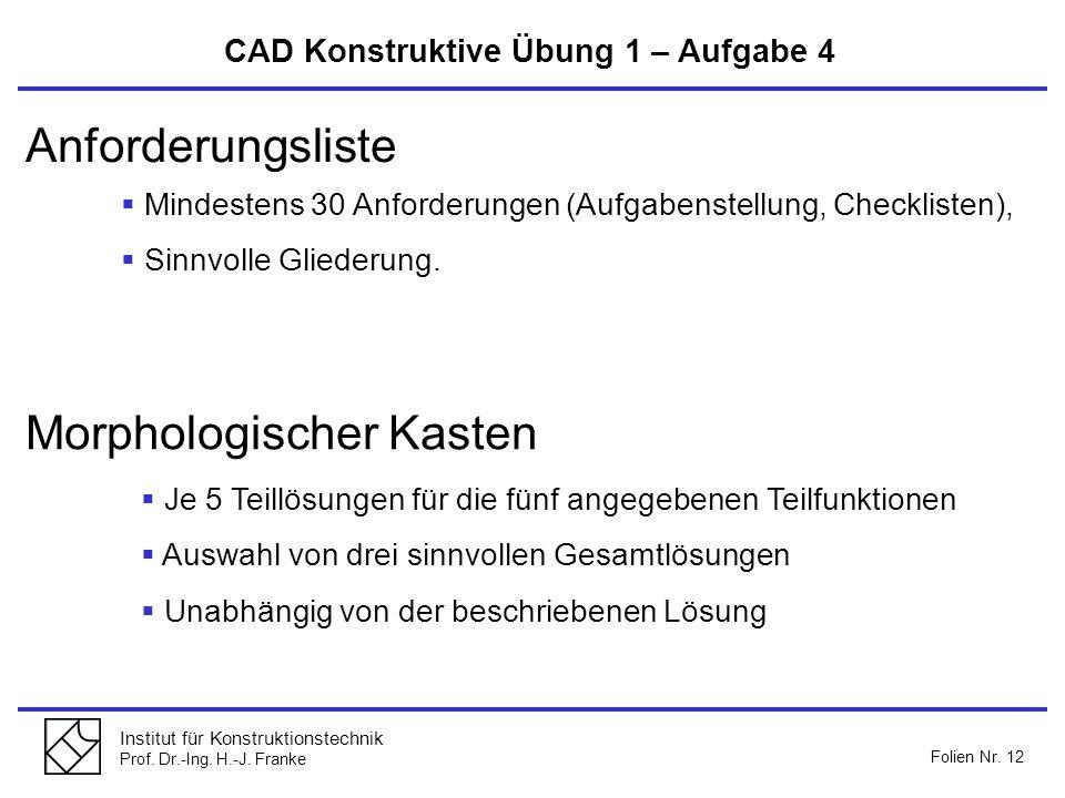 Institut für Konstruktionstechnik Prof. Dr.-Ing. H.-J. Franke Folien Nr. 12 Anforderungsliste Morphologischer Kasten Mindestens 30 Anforderungen (Aufg