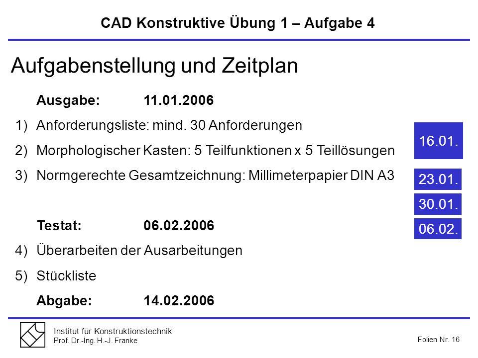 Institut für Konstruktionstechnik Prof. Dr.-Ing. H.-J. Franke Folien Nr. 16 Aufgabenstellung und Zeitplan Ausgabe:11.01.2006 1)Anforderungsliste: mind