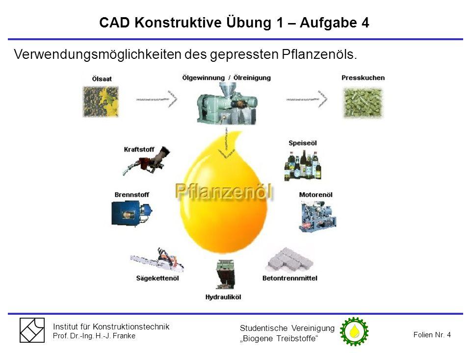 Institut für Konstruktionstechnik Prof. Dr.-Ing. H.-J. Franke Folien Nr. 4 CAD Konstruktive Übung 1 – Aufgabe 4 Verwendungsmöglichkeiten des gepresste