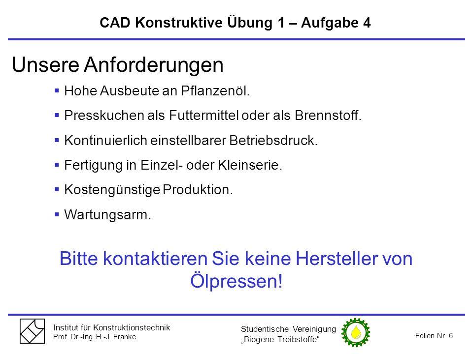 Institut für Konstruktionstechnik Prof. Dr.-Ing. H.-J. Franke Folien Nr. 6 CAD Konstruktive Übung 1 – Aufgabe 4 Hohe Ausbeute an Pflanzenöl. Presskuch