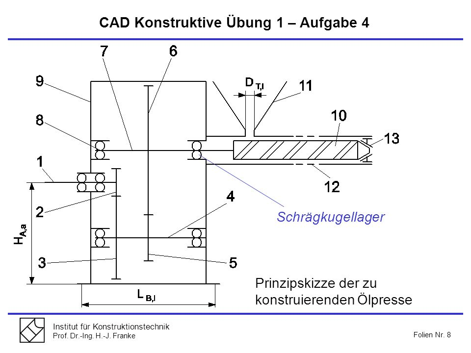 Institut für Konstruktionstechnik Prof. Dr.-Ing. H.-J. Franke Folien Nr. 8 CAD Konstruktive Übung 1 – Aufgabe 4 Prinzipskizze der zu konstruierenden Ö