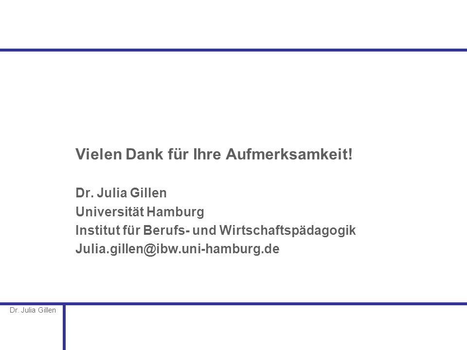 Dr. Julia Gillen Vielen Dank für Ihre Aufmerksamkeit! Dr. Julia Gillen Universität Hamburg Institut für Berufs- und Wirtschaftspädagogik Julia.gillen@