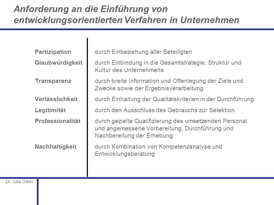 Dr. Julia Gillen Anforderung an die Einführung von entwicklungsorientierten Verfahren in Unternehmen Partizipation durch Einbeziehung aller Beteiligte