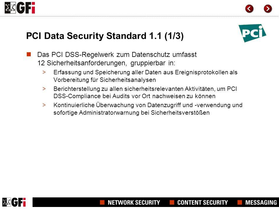 PCI Data Security Standard 1.1 (2/3) PCI DSS-Kategorien 6 Zielkategorien des PCI DSS-Regelwerks Einrichtung und Betrieb eines geschützten Netzwerks Schutz der Karteninhaberdaten Einrichtung eines Schwachstellen-Management-Systems Durchsetzung einer Richtlinie zur Informationssicherheit Regelmäßige Überwachung und Überprüfung des Netzwerks Umsetzung effektiver Richtlinien zur Zugriffskontrolle