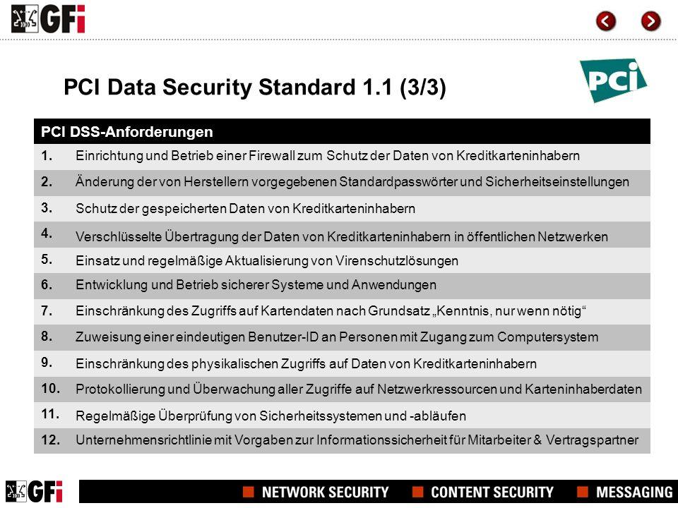 PCI Data Security Standard 1.1 (3/3) PCI DSS-Anforderungen 1. 2. 3. 4. 5. 6. 7. 8. 9. 10. 11. 12. Einrichtung und Betrieb einer Firewall zum Schutz de