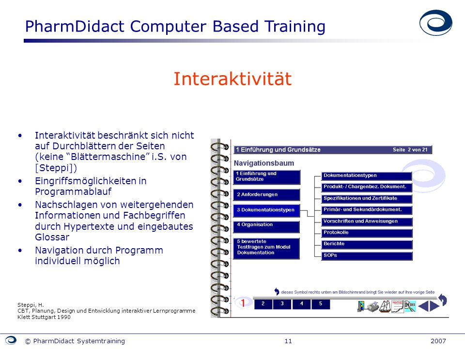 PharmDidact Computer Based Training © PharmDidact Systemtraining 11 2007 Interaktivität Interaktivität beschränkt sich nicht auf Durchblättern der Sei