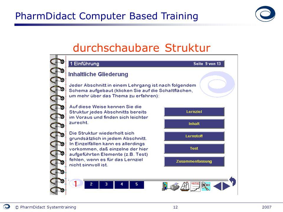PharmDidact Computer Based Training © PharmDidact Systemtraining 12 2007 durchschaubare Struktur