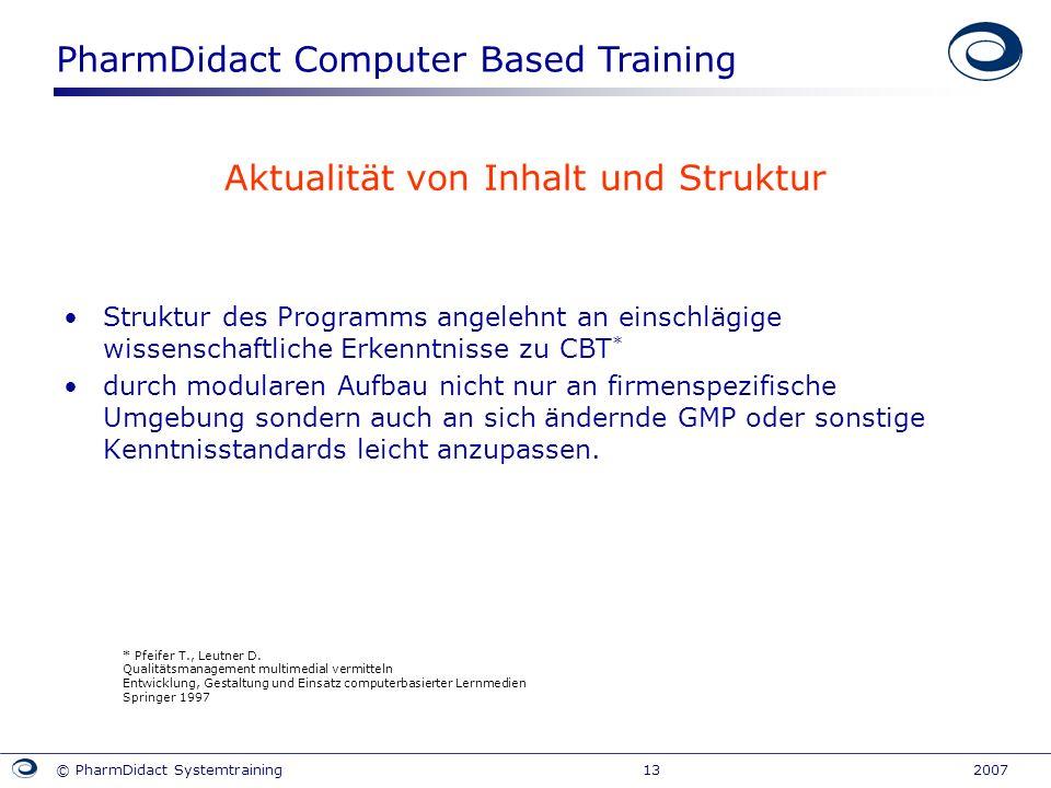 PharmDidact Computer Based Training © PharmDidact Systemtraining 13 2007 Aktualität von Inhalt und Struktur Struktur des Programms angelehnt an einsch