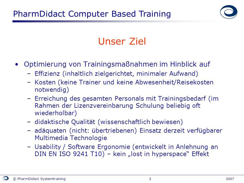 PharmDidact Computer Based Training © PharmDidact Systemtraining 2 2007 Unser Ziel Optimierung von Trainingsmaßnahmen im Hinblick auf –Effizienz (inha