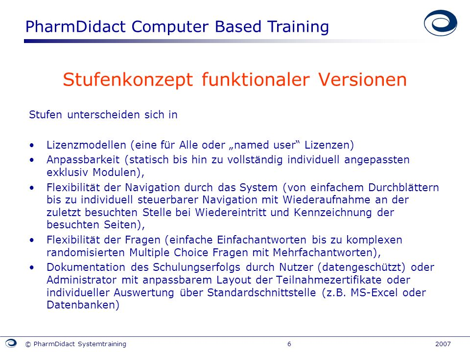 PharmDidact Computer Based Training © PharmDidact Systemtraining 6 2007 Stufenkonzept funktionaler Versionen Stufen unterscheiden sich in Lizenzmodell