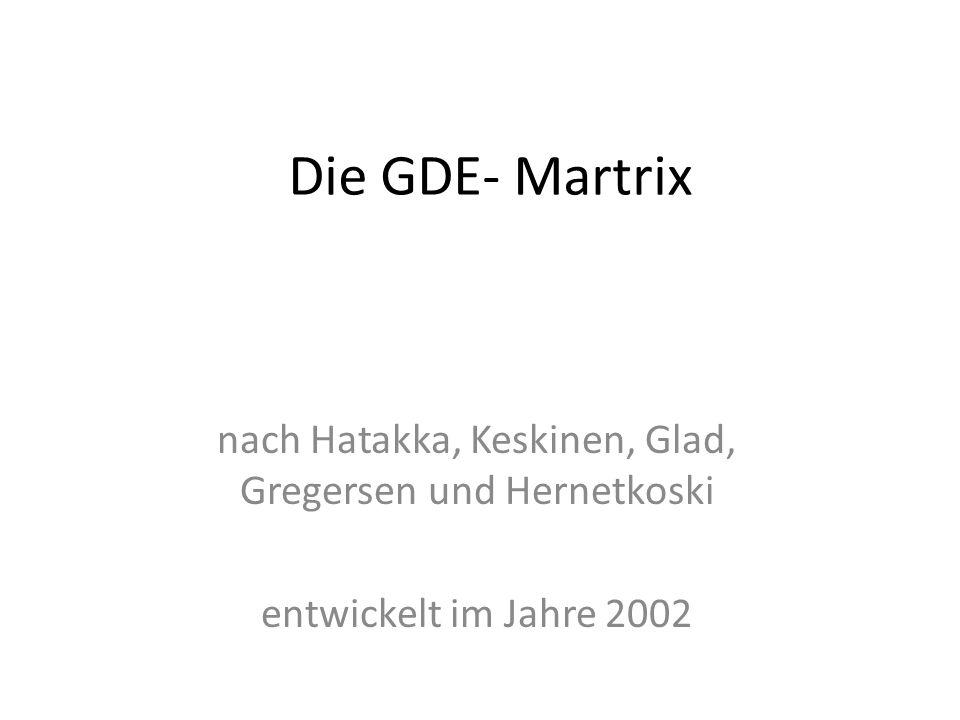 Die GDE- Martrix nach Hatakka, Keskinen, Glad, Gregersen und Hernetkoski entwickelt im Jahre 2002