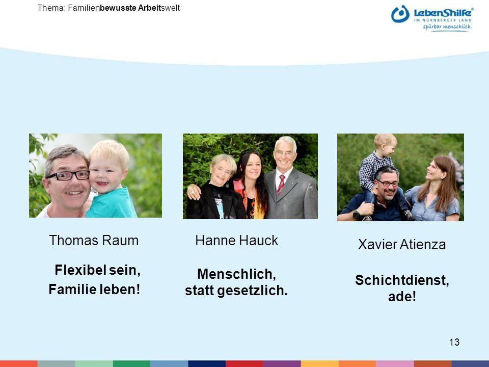 13 Thema: Familienbewusste Arbeitswelt Thomas Raum Flexibel sein, Familie leben.