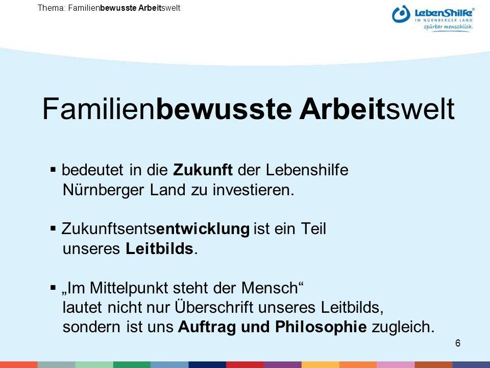 6 Familienbewusste Arbeitswelt bedeutet in die Zukunft der Lebenshilfe Nürnberger Land zu investieren.