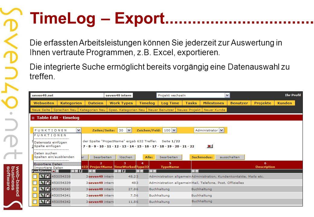 TimeLog – Export...................................