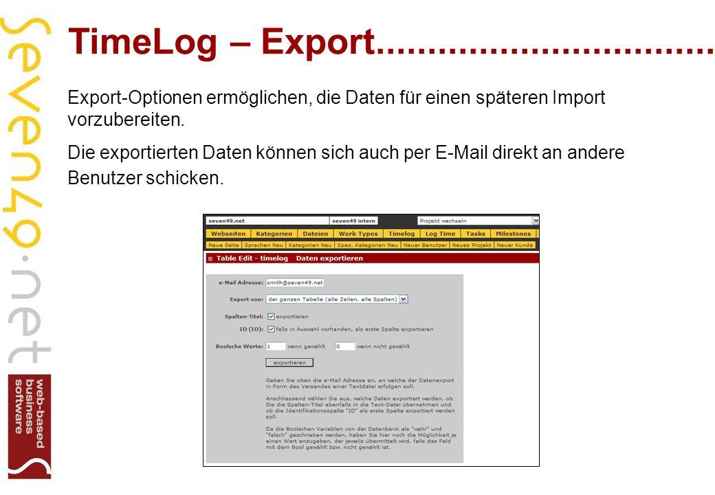 TimeLog – Export..................................