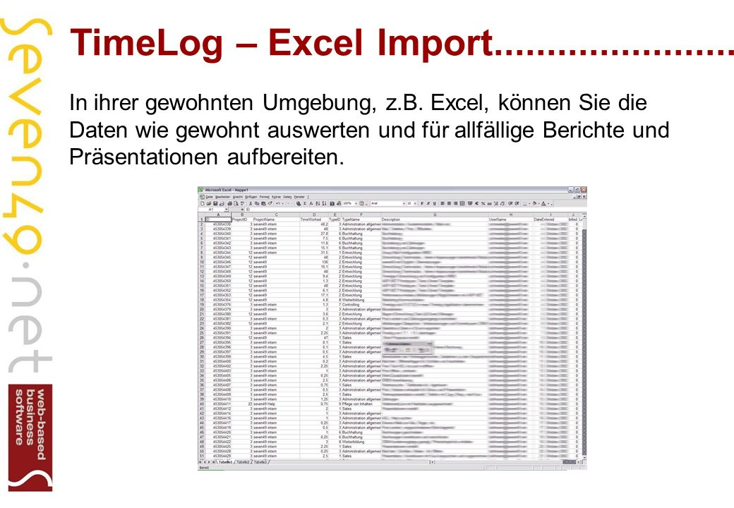 TimeLog – Excel Import........................ In ihrer gewohnten Umgebung, z.B.