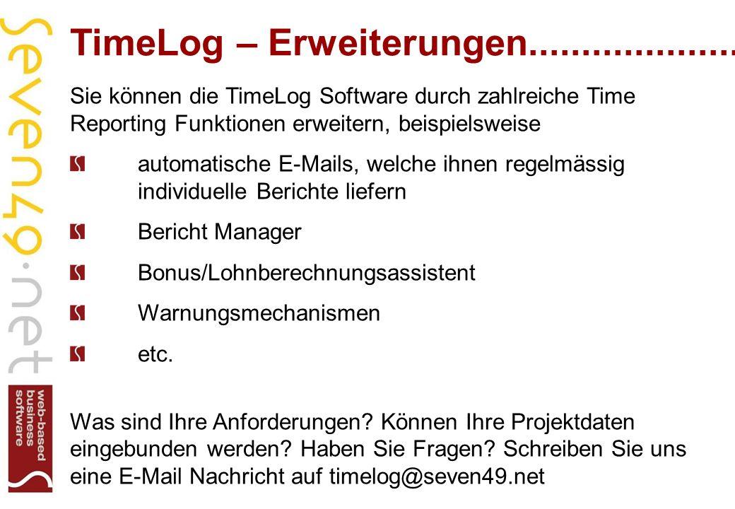 TimeLog – Erweiterungen....................