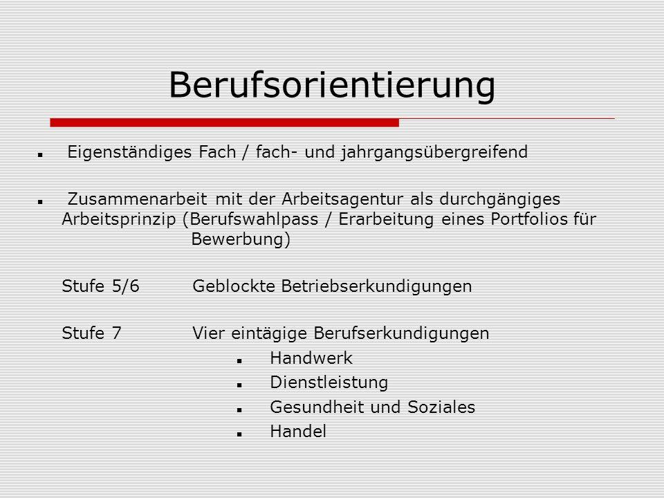 Berufsorientierung Stufe 7/8 Potenzialanalyse und Werkstatttage in der BAW Freiwillige Praktika in den Ferien (Auf Wunsch Begleitung durch den Berufseingangsbegleiter) Stufe 9 2-wöchiges Betriebspraktikum Projektwoche Fit für den Beruf (Gedächtnistraining, Bewerbungstraining und Benimmtraining)